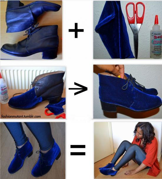 These are so cool! DIY velvet shoes - rouble w/link but the pictures explain the DIY