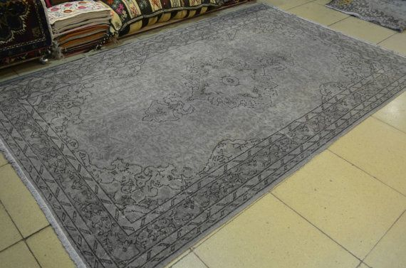 Gray Turkish overdyed rug. Overdyed gray carpet. by turkishrugman
