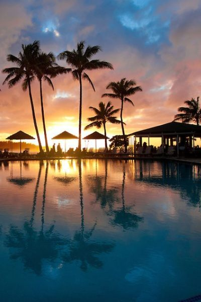 Sunset Turtle bay resort on Oahu's North Shore in Hawaii