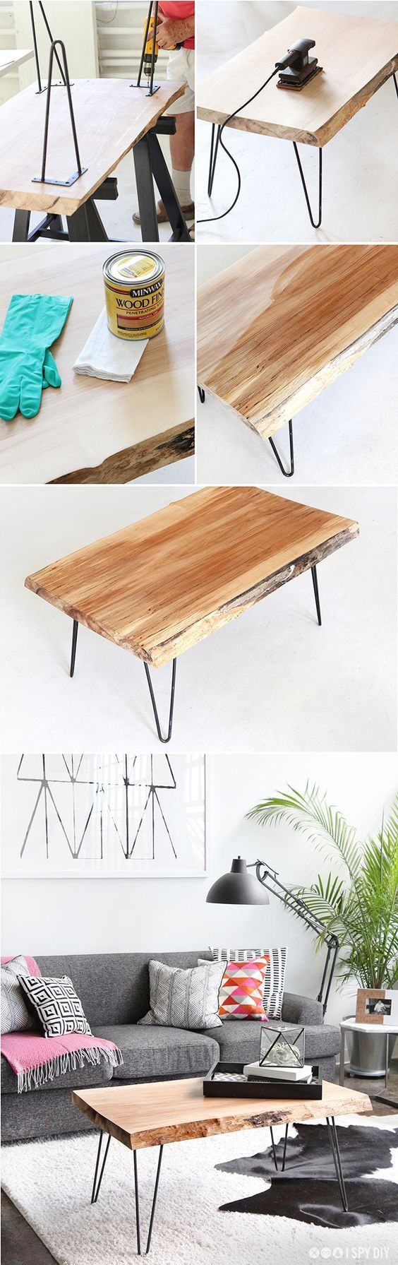15 Creative Living Room Furniture Ideas - 8.DIY Wood Slab Coffee Table - Diy & Crafts Ideas Magazine