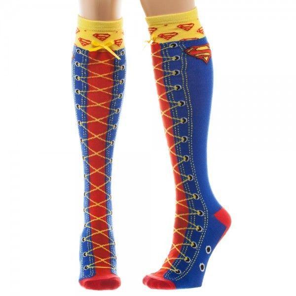 26c2a3ded DC Comics Superman Faux Lace Up Knee High Boot Women s Socks Logo Cosplay  Cute  Bioworld  KneeHigh