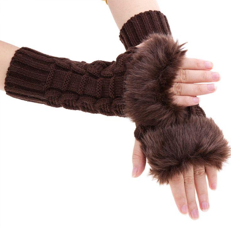 Women's Knitted Gloves Ladies Womens Wrist Gloves Fluffy Long Winter Warm Half Finger Gloves Touch Screen Sensor