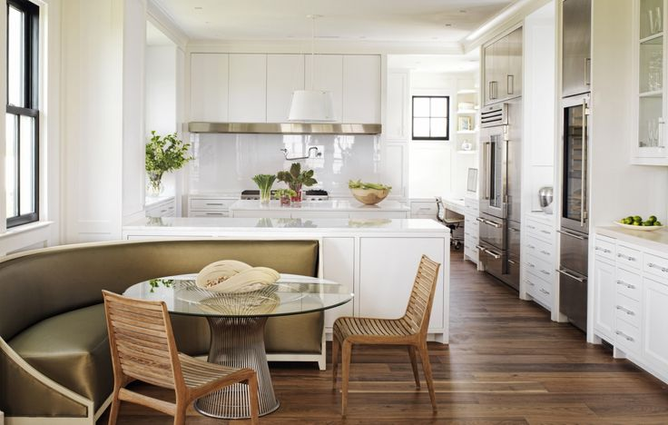 open kitchen in white with diner style curved banquette. Black Bedroom Furniture Sets. Home Design Ideas