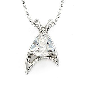 In honor of Star Trek's 50th anniversary, RockLove made this crystal version of their Star Trek Sterling Starfleet Trillion Necklace exclusively for ThinkGeek.