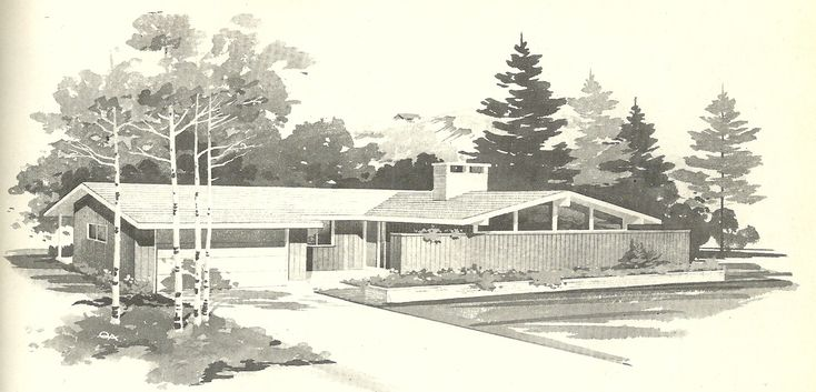 u shaped house plans | Vintage House Plans 1960s: Perfect Square, U-Shaped and Large ...
