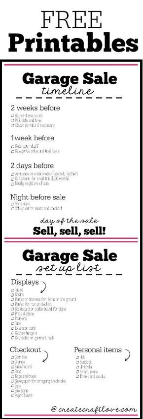 garage sale checklist. Thinking about having a garage sale this summer? Here are some free printables to help you set up and organize your next garage sale!