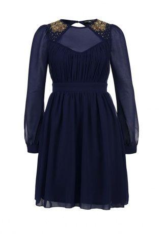 Платье Little Mistress выполнено из легкой ткани темно-синего оттенка. Модель декорирована золотистыми кристаллами, пайетками и бисером. Детали: приталенный крой, ромбовидный вырез на фронтальной части и спинке, длинный рукав из прозрачной ткани, волнистая юбка, застежка на молнию и пуговицу на спинке, легкая подкладка. http://j.mp/1pPbBgm