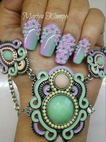 Pastel 3D floral nail art