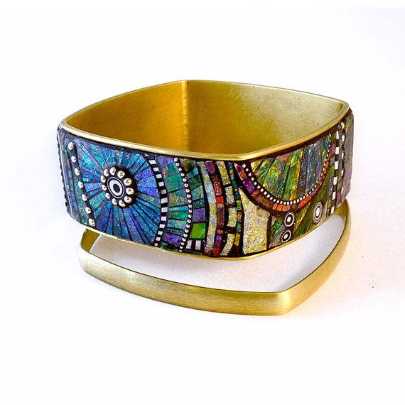 Iridescent mosaic inlay polymer clay blue green pink yellow sterling beads in Brass Square Bangle Bracelets