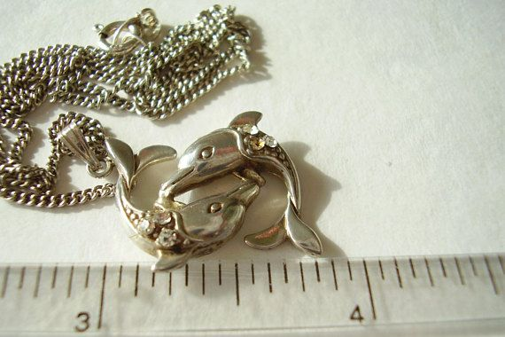 925 Necklace Dolphin Pendant Solid Silver Chain Vintage