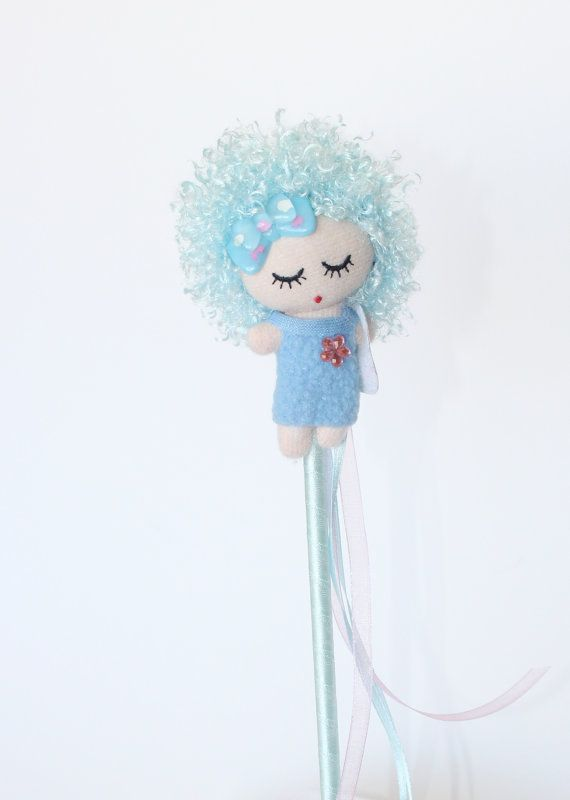 Baby girl with bag  baby shower wand for baby by Themagicalworld, $28.00