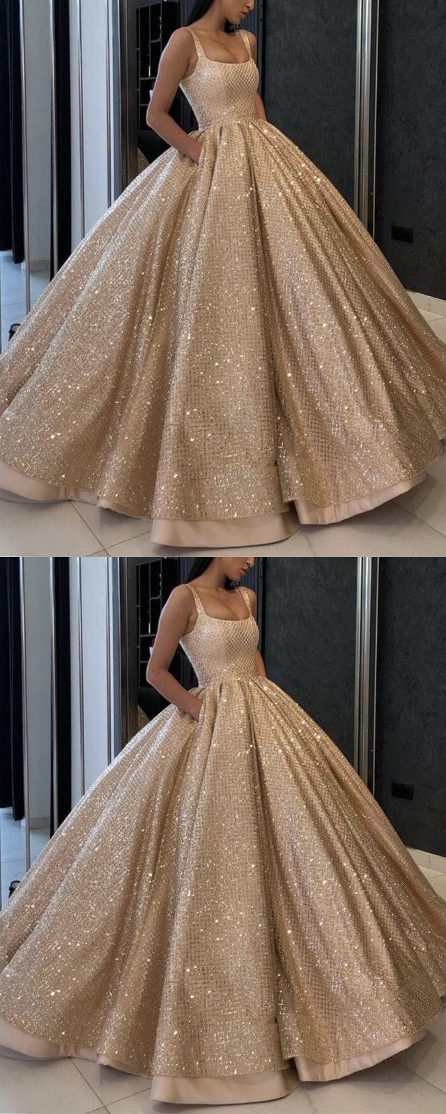 Bling Bling Gold Sequins Satin Ball Gown Wedding Dresses