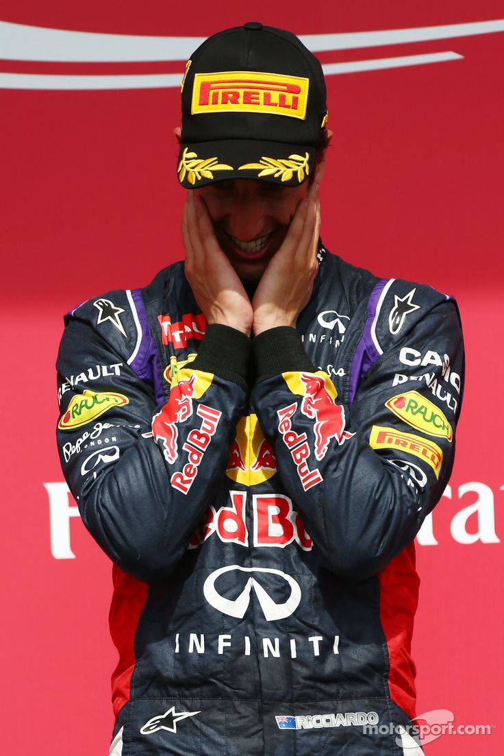 Emotional Daniel Ricciardo on the podium - 2014 Canadian GP