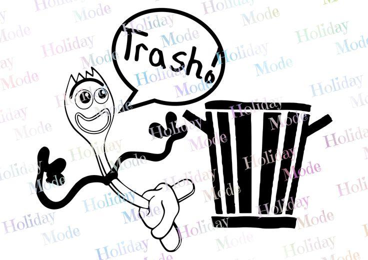 Disney Toy Story 4 Forky Trash Svg Disney Svg Print