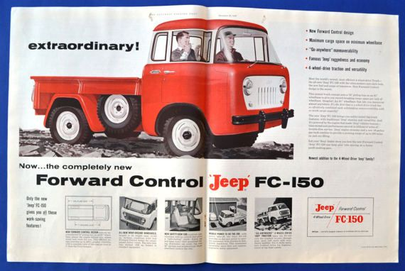 Willys Forward Control Jeep FC-150 Pickup Truck LARGE CENTERFOLD 1956 Print Ad