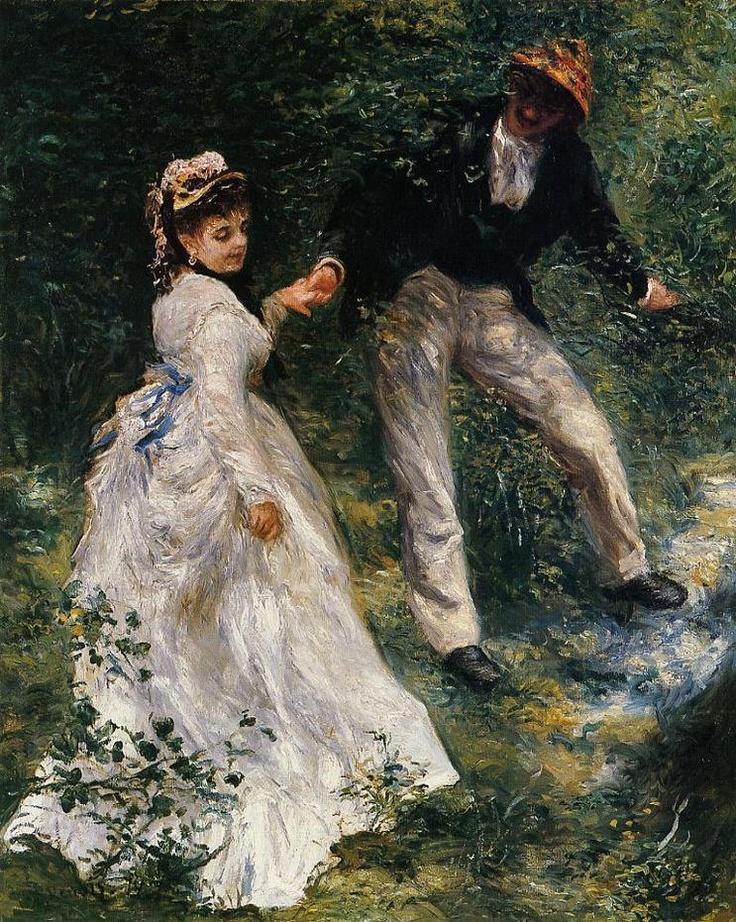 < 르누아르 '산책' (1870), 유화, 80 x 64cm > 이 작품은 인상주의 화풍의 서막이라고 할 수 있다. 나뭇잎 사이로 비치는 빛, 젊은 여인의 희고 얇은 치마 위로 쏟아져 내리는 빛이 잘 표현되어져 있다.