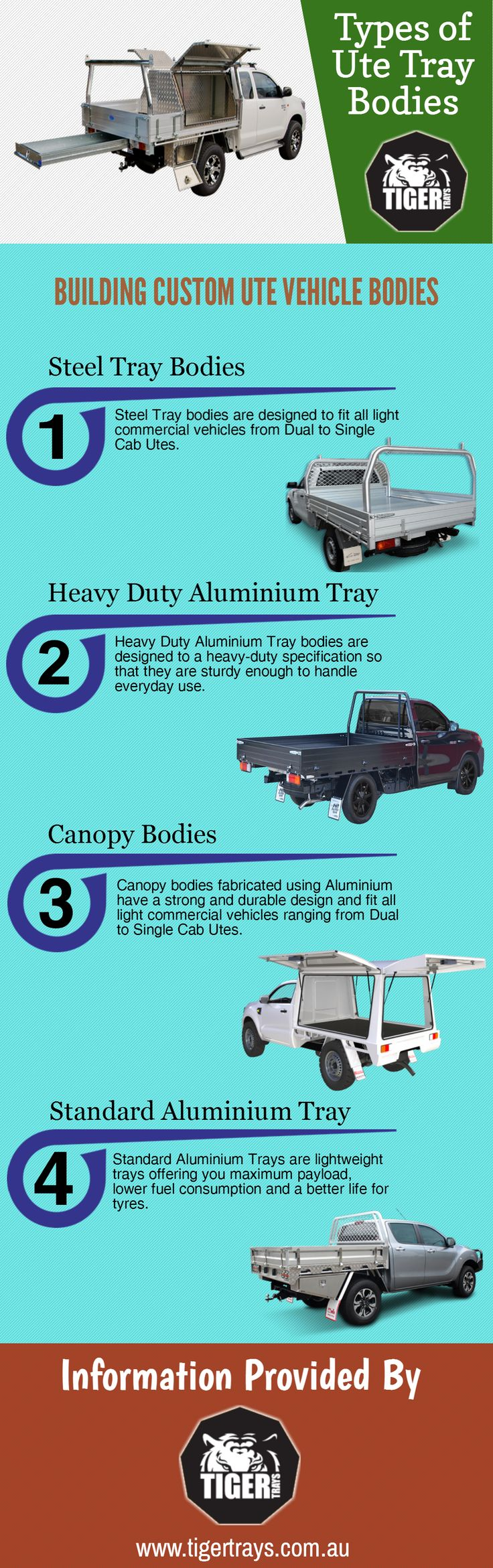 Ute Tray bodies are available in different sizes and contours to suit all vehicles. They can be constructed with steel or aluminium depending on the nature of usage. Avail information regarding different ute tray bodies through this infographic.