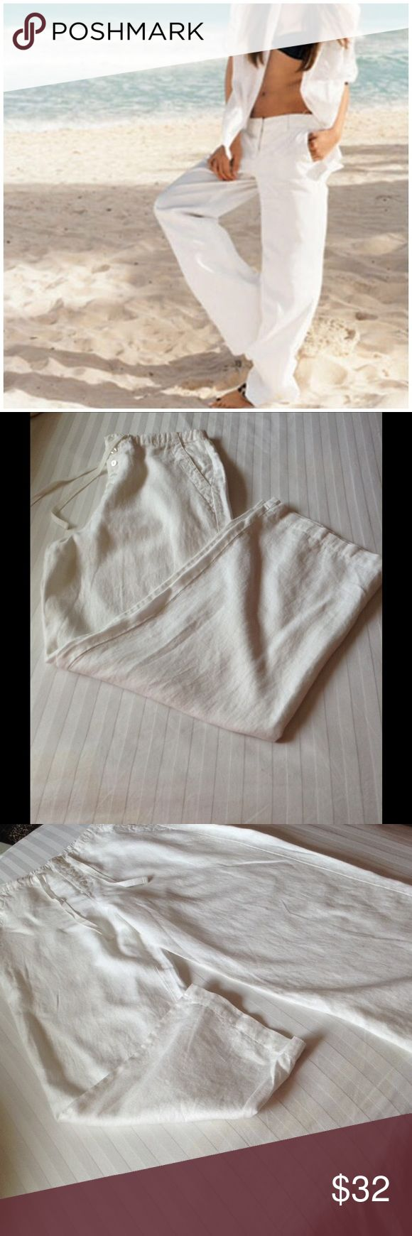 REAL COMFORT BEACH PANTS 10 NWOT REAL COMFORT WHITE 100% LINEN BEACH PANTS , POCKETS DRAW STRING AND BUTTONS 10 NWOT REAL COMFORT Pants Wide Leg