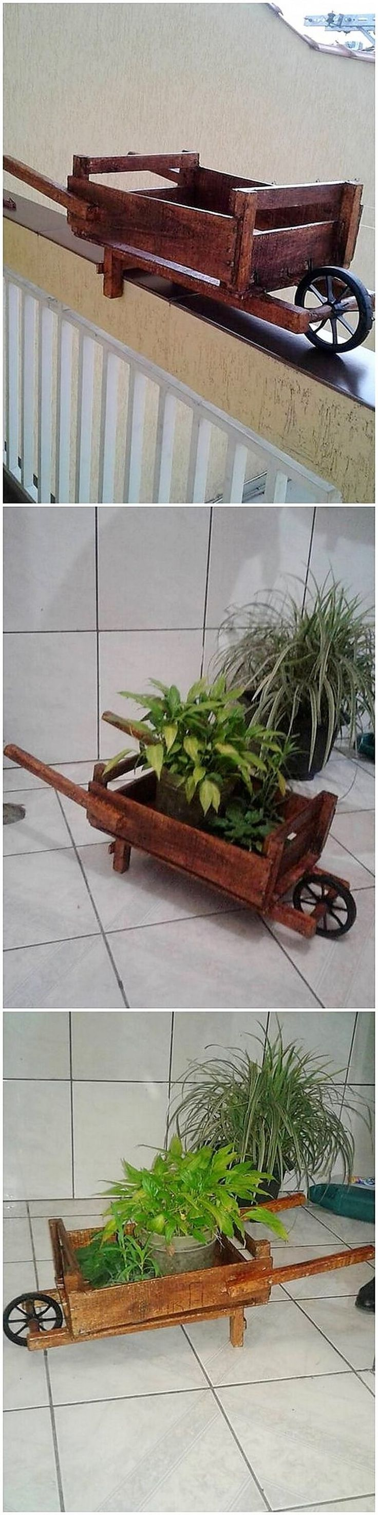 On the last on our list we have wood pallet amazing wheel barrow planter option. This idea is perfect if you want to give your house garden areas with the best house living in a comfort zone. It is simple and yet a awesome wood pallet planter piece for them in the garden area.