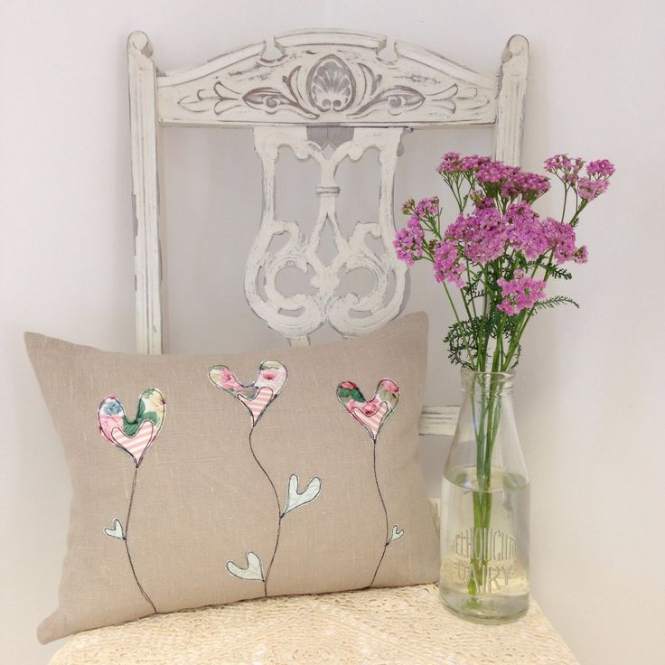 A personal favourite from my Etsy shop https://www.etsy.com/listing/246127564/linen-vintage-fabric-applique-cushion