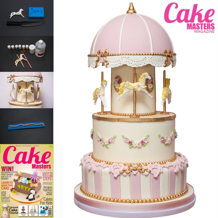 Beautiful carousel cake tutorial in Cake Masters Magazine April 2015