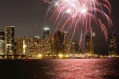 Fireworks, Independence Day, 2008. Chicago.