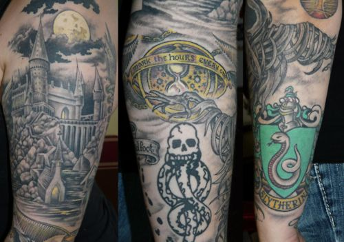 1000 images about tat on pinterest sleeve harry potter for Harry potter sleeve tattoo