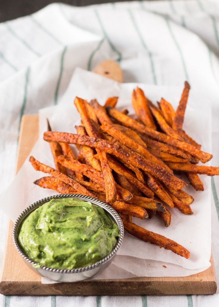 crispy sweet potato fries with avocado coriander dip sideview