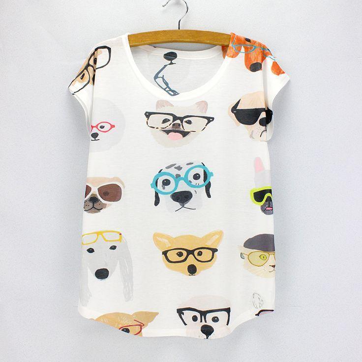 Cães bonitos impressão verão top tees t shirt do estilo da forma das mulheres meninas impressão tshirt transporte por atacado da gota em Camisetas de Das mulheres Roupas & Acessórios no AliExpress.com | Alibaba Group