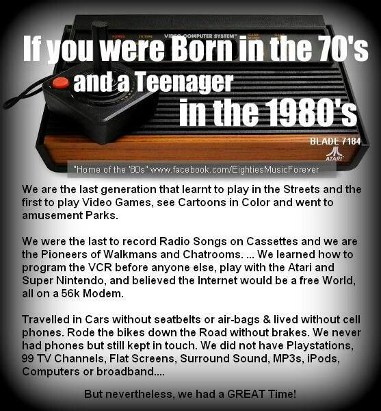 Born in the 70's, grew up in the 80's.