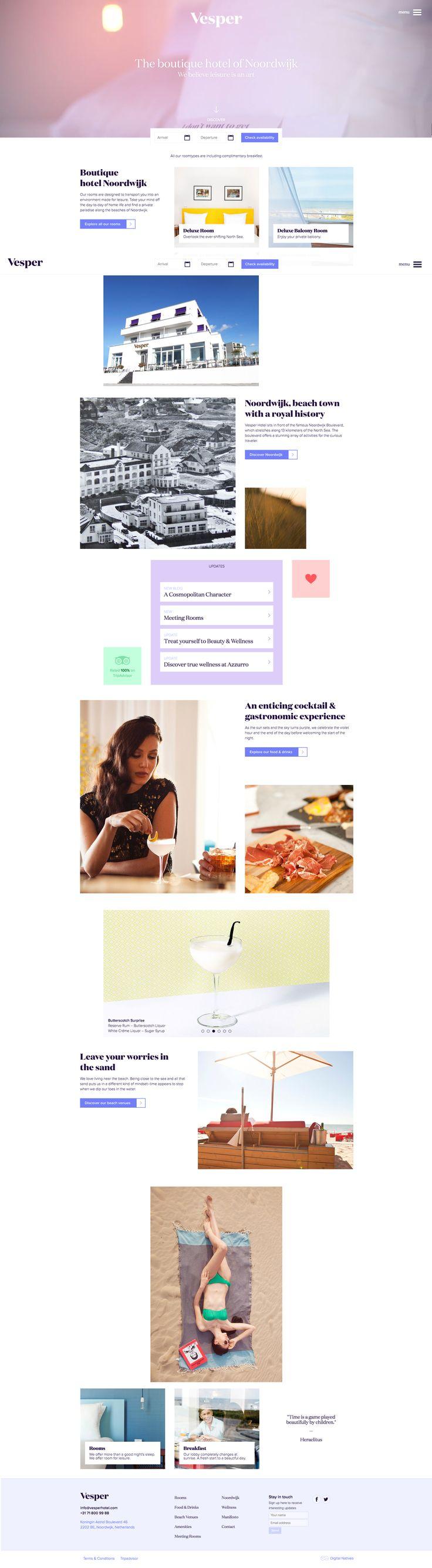 Vesper Hotel Website Design #hotelwebsites #hotelwebsitedesign #websitedesign