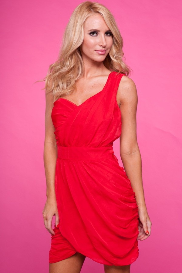 Red one shoulder ruched dressWhite Collar