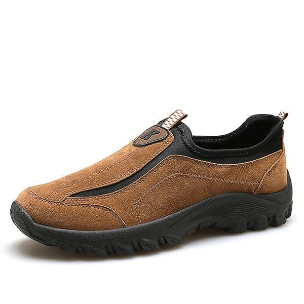 Men Suede Leather Elastic Slip On Outdoor Hiking Sneakers - US$35.12  #men #shoes #fashion
