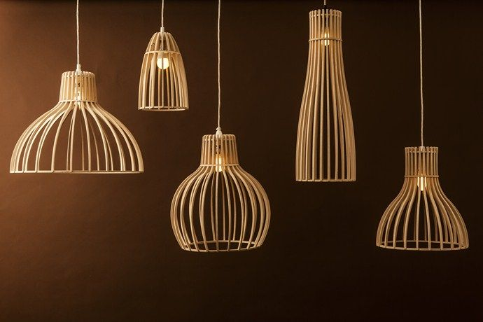 Jacques Cronje's Minima Light, Timber design, Pendants, Birch Plywood. Spazio Lighting. Available at Springlights in Kloof.