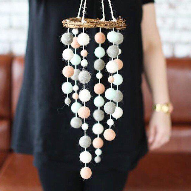 felt ball strands as ornaments (like icicles)