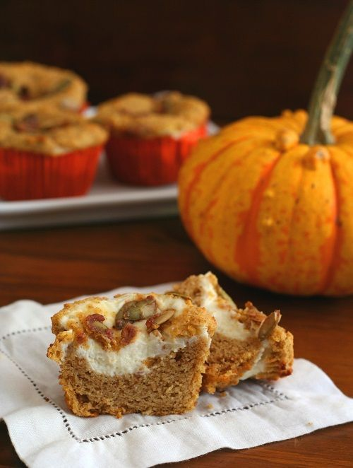 Pumpkin Cream Cheese Muffins – Low Carb and Gluten-Pumpkin Cream Cheese Muffins – a low carb, gluten-free version of the Starbucks Pumpkin Cream Cheese Muffins. A perfectly healthy fall treat! THM (S)