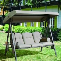 Abba Patio 3 Seat Outdoor Polyester Canopy Porch Swing Hammock with Steel Frame and Adjustable Canopy, Taupe