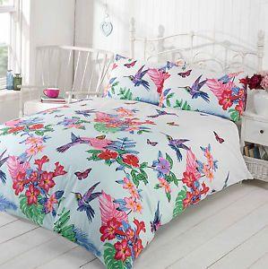 Spring Nature Birds Duvet Cover With Floral Design Duck EGG Blue Pink Purple | eBay