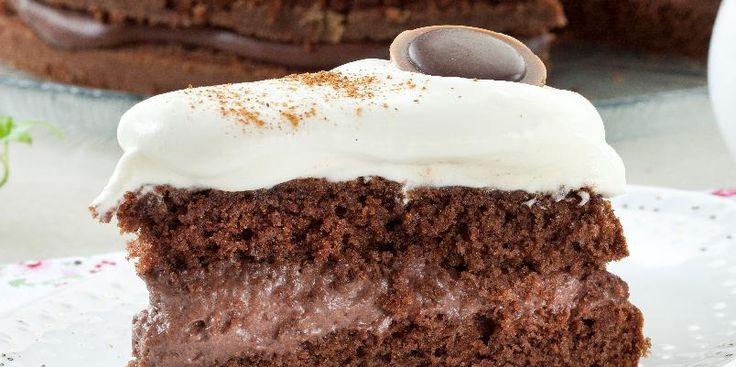 Sjokoladekake med godt fyll - Denne oppskriften gir ca. tolv biter.