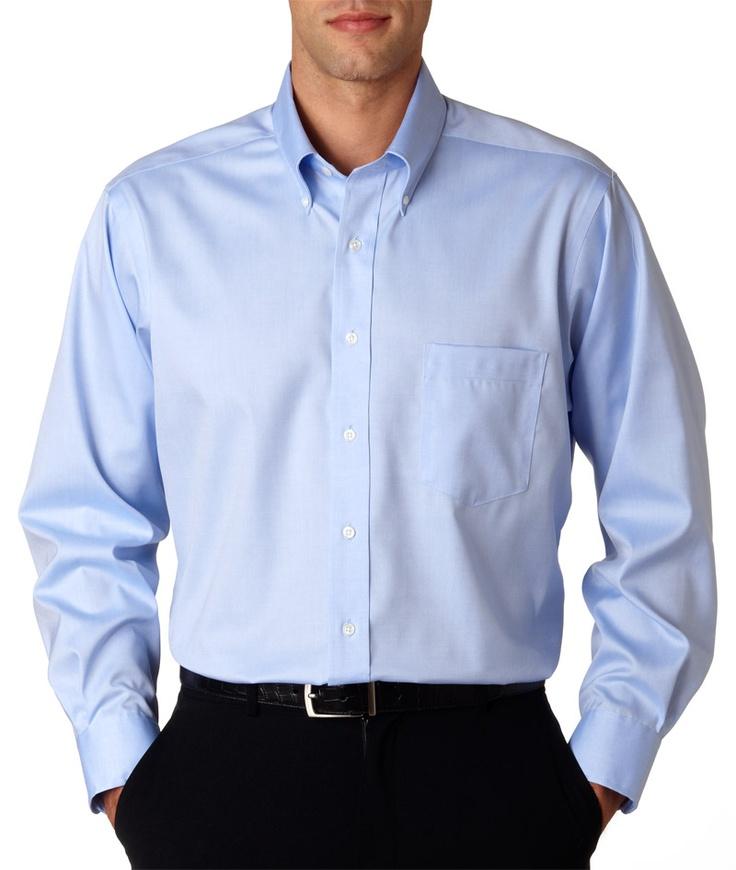 Van heusen men 39 s long sleeve non iron pinpoint oxford 100 for Non wrinkle dress shirts