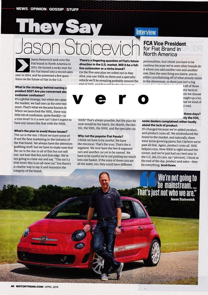 fiat 2015 car print ad clipping interview fca vice president jason stoicevich - Cars Pictures To Print