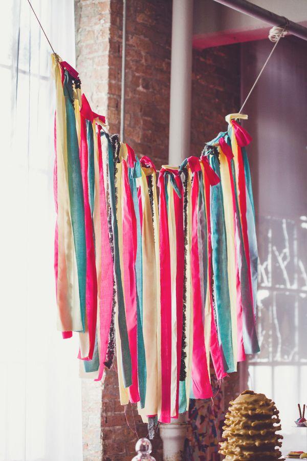 CMYK fabric streamer garland // photo by AngelaReneePhoto.com