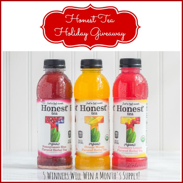 Honest Tea Holiday Giveaway, 5 Winners Win a MONTH's supply, ends 12/30
