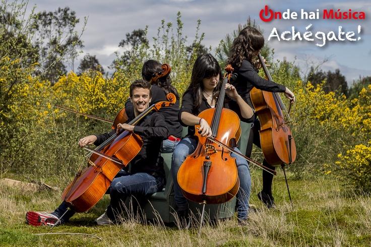 Membros de Soncello Quartet nos alrededores de Santiago de Compostela. Fotografía Xaime Cortizo.  ondehaimusica.galiciasustentable.org  www.facebook.com/ondehaimusica  @ondehaimusica