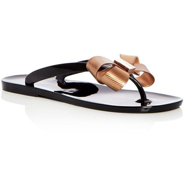 Ted Baker Women's Suszie Bow Flip-Flops ($75) ❤ liked on Polyvore featuring shoes, sandals, flip flops, black, pvc shoes, black bow shoes, ted baker, kohl shoes and black bow flip flops
