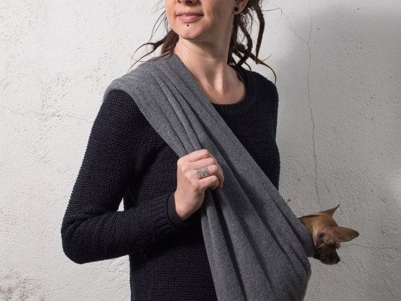 Pet sling SMALL dog carrier fleece grey by care4dogs on Etsy