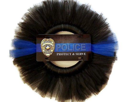 "Police Protect & Serve Tulle Wreath 23"", Man Cave, Birthday Gift, Thin Blue LIne , Police Station  $40"