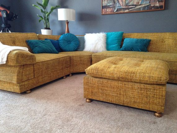 Mid Century Mod Vintage Yellow Tweed Boucle Wool Lounge Sectional Sofa Couch  on Etsy, $5,363.46