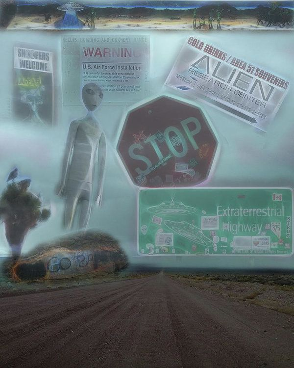 Area 51 Follow The Signs If You Dare Art Print by Leslie Montgomery.