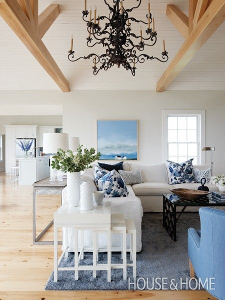 Blue, Grey and White Living Room Color Palette
